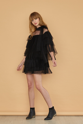 AURORA Tulle Mini Dress with Neckbow in Black