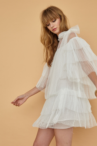 AURORA Tulle Mini Dress with Neckbow in white