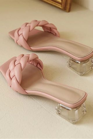 Pre-Order | Braided glass heels in Pink