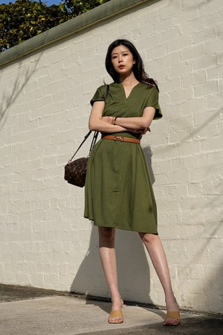 Jenn Skater dress in Army green