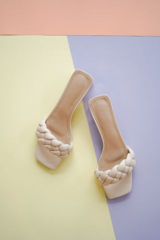 Pre-Order   Braided glass heels in White