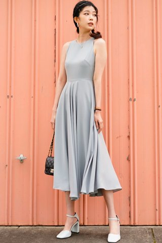 Izabella Fit and Flare midi dress in Sage Green