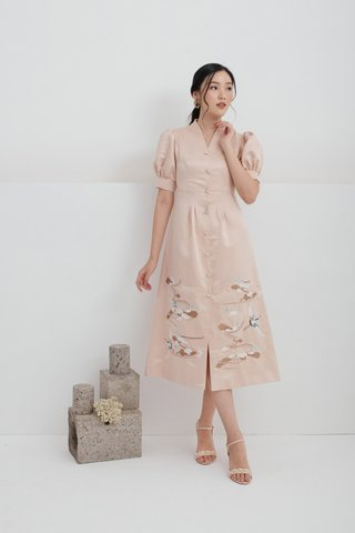 Ru Yi puffy sleeves embroidered dress in Champagne nude