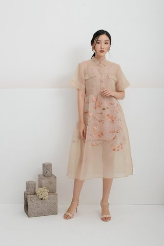 Yu Koi Embroidered dress in Nude