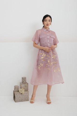 Yu Koi Embroidered dress in Lilac