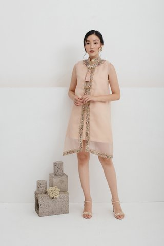 Pre-Order | Ping An Embroidered A-line Dress in Nude