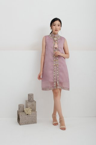 Ping An Embroidered A-line Dress in Lilac