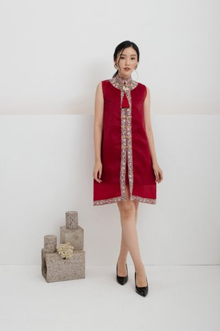 Pre-Order | Ping An Embroidered A-line Dress in Wine