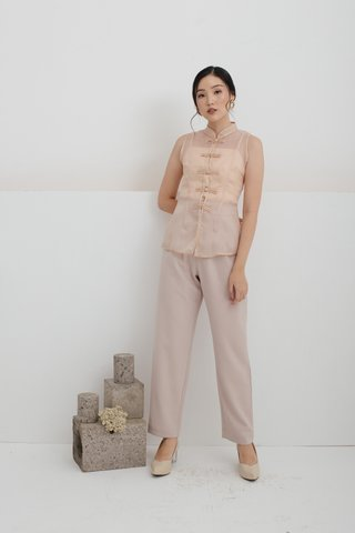 Olivia Pleats and Loops Highwaisted Pants in Beige