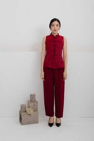 Xi Shanghai Top in Wine Red