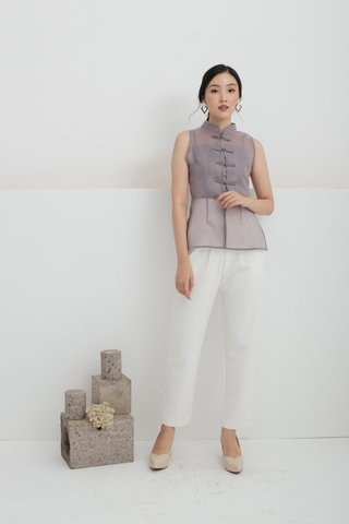 Olivia Pleats and Loops Highwaisted Pants in Offwhite